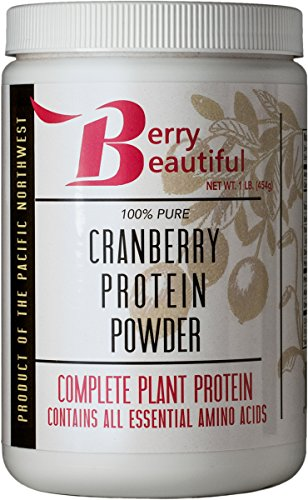 Cranberry Protein Powder – 1 lb. (454 g) – milled from US grown cranberry seed that is cold pressed by Berry Beautiful – for active women, vegans, vegetarians