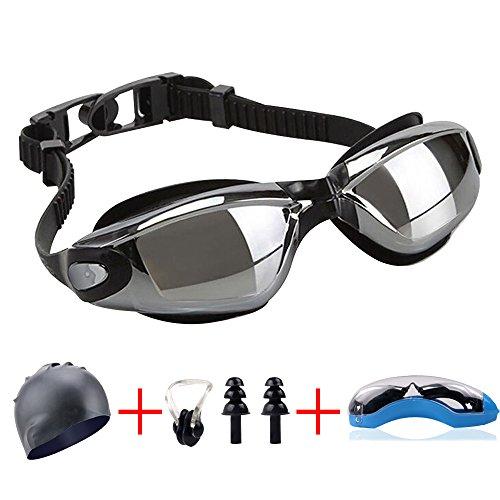 Yakalla New Professional UV Protection Swim Glasses Anti Frog Waterproof Colorful men women Swiming Goggles With Diving Earplugs