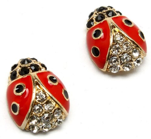 Crystal Accented Small Red and Black Enamel Ladybug Stud Earrings Fashion Jewelry (Gold tone)
