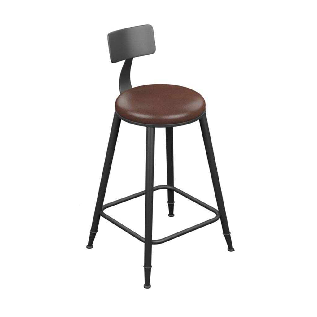 With backrest 60cm high Retro Iron Art Bar Stool High Leg Chairs Modern Simple Kitchen Household Seat Backrest Design Sturdy Non-Slip 0522A (color   with backrest, Size   68cm high)