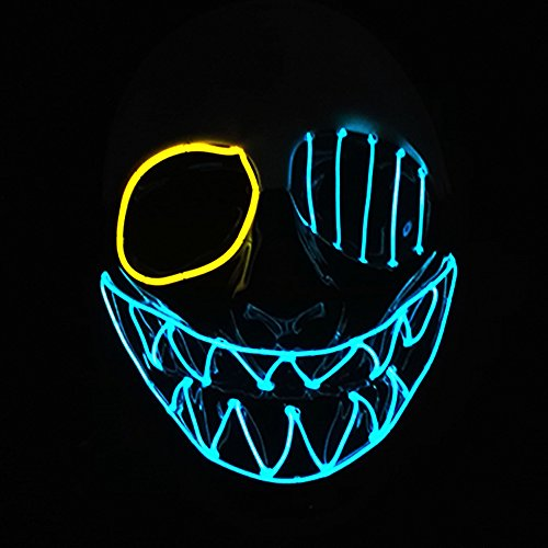 Skull Mardi Gras Scary Mask (Interomgl EI Wire Glowing Big Mouth Cool Clown Creepy Puppet Scary Death Rave Mask LED Light Up Mask Skull Face Ghost Headwear Nightlife Skeleton Masks Kit for Halloween Festival Birthday Party)