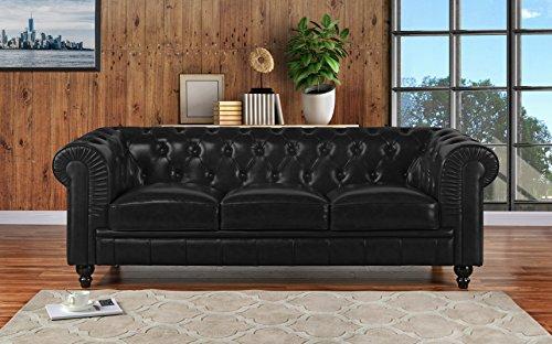 Italian Black Couch (Divano Roma Furniture Classic Scroll Arm Leather Match Chesterfield Sofa (Black))