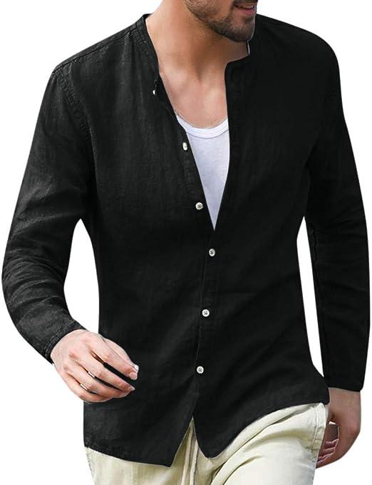 Men Clothing Linen Mandarin Collar Casual Long Sleeve Solid Breathable T-shirts