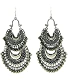 Aradhya Silver Oxidised High Classy Double Decker Afghani Earrings For Women And Girls