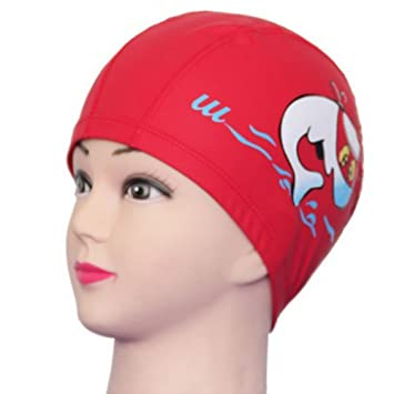 Generic Unisex Children Kids Breathable Swimming Hat Waterproof Hair Care  Ear Protection Swim Cap Polyester Cartoon 376238f5a887