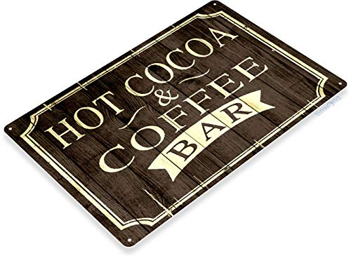 Tinworld Tin Sign Hot Cocoa Coffee Rustic Retro Coffee Shop Bar Metal Sign Decor Kitchen Cottage Cafe Farm C006 ()
