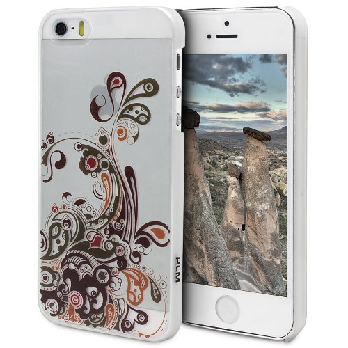 "PLM ""avanos Motif verre Flourish – Apple iPhone 5s, iPhone 5 housse coque case Back Cover Opale/Blanc (Lait)"