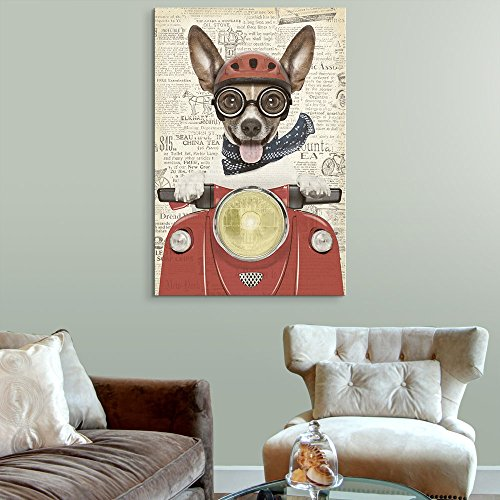 Creative Animal Figure on Vintage Paper A Dog Riding a Red Motorcycle
