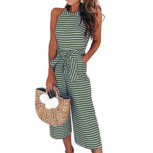 PRETTYGARDEN 2018 Women's Striped Sleeveless Waist Belted Zipper Back Wide Leg Loose Jumpsuit Romper with Pockets (Green, Small)
