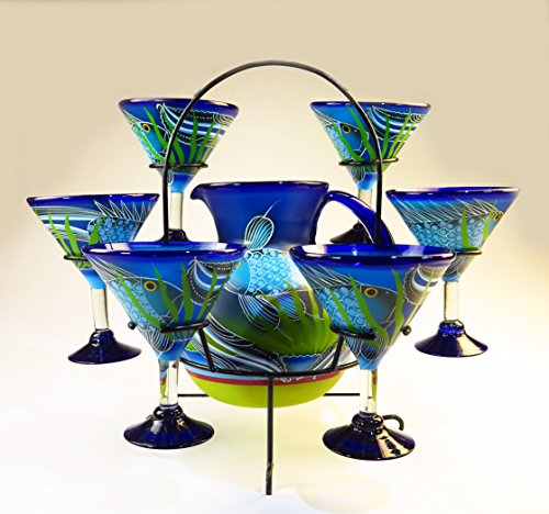 Mexican Margarita/Martini Glasses and Pitcher set with dispaly rack, Hand Blown, Hand Painted, Blue with Fish in the Sea design - Hand Painted Glass Pitcher