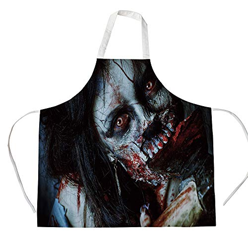 Zombie Decor 3D Printed Cotton Linen Apron,Scary Dead Woman with Bloody Axe Evil Fantasy Gothic Mystery Halloween Picture,for Cooking Baking Gardening,Multicolor]()