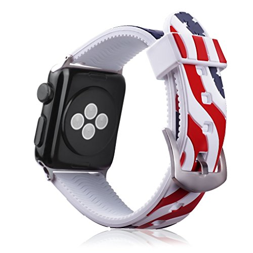 Juzzhou Band For Apple Watch iWatch Series 1/2/3 Sport Silicone National Flag Replacement us Wristband Wriststrap Bracelet Wrist Strap With Metal Adapter Clasp For Woman Girl Lady Men Boy White 38mm