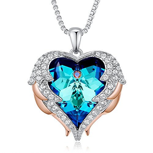 (NEWNOVE Heart of Ocean Pendant Necklaces for Women Made with Swarovski Crystals (E_Blue Heart Pendant)