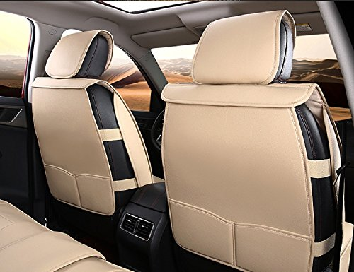 A&S 19005 Compatible Universal Full Front Rear PU Fabric Car Seat Cushion Cover Fit Protection (Warm Ivory White) by A&S (Image #1)
