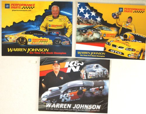 (NHRA - 2009 - Warren Johnson / 6 Time Pro Stock Champion - K&N Filters/GM Performance Parts - Pontiac GXP/GTO - LSX/Racing Legend - 3 Promo Cards - Out of Print - Collectible)