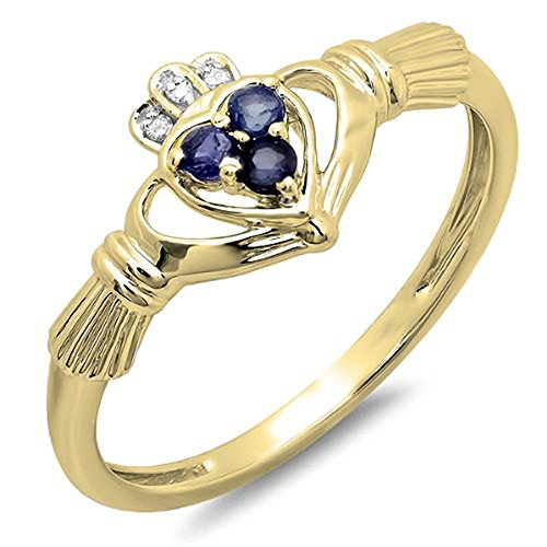 14K Yellow Gold Diamond And Blue Sapphire Bridal Promise Irish Love Claddagh Heart Shape Ring (Size (White Gold Sapphire Claddagh Ring)