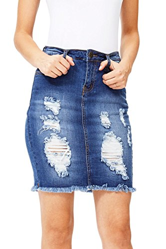 Machine Women's Juniors High Waist Distressed Pencil Skirt (L, Dark Denim) (Rise Denim Pencil Skirts)