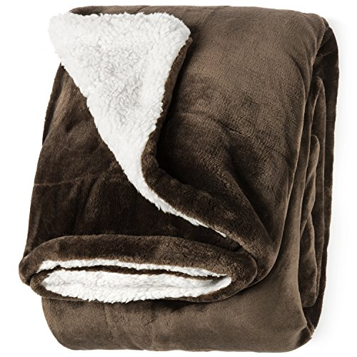 """Life Comfort Microfiber Plush Polyester 60""""x70"""" Large All Season Blanket for Bed or Couch Ultimate Sherpa Throw, Dark Brown"""
