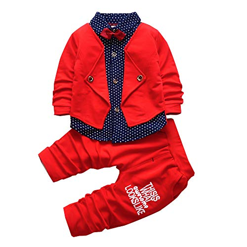 2pcs Baby Boy Dress Clothes Toddler Outfits Infant Tuxedo Formal Suits Set Shirt + Pants(Red, 3T) ()