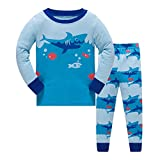 Qtake Fashion Boys Pajamas Children Clothes Dinosaur Set 100% Cotton Little Kids Pjs Sleepwear (7-8 Years, Shark1)