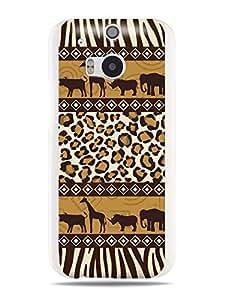 """GRÜV Premium Case - """"African Safari Tribal Digital Art"""" Design - Best Quality Designer Print on White Hard Cover - for HTC One M8 2014"""