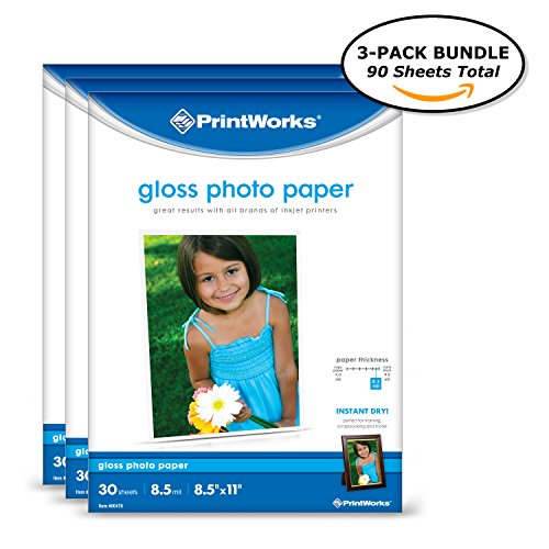 Printworks Photo Paper, Gloss, 8.5in x 11in, 90 Sheets (3-pack bundle), 00543