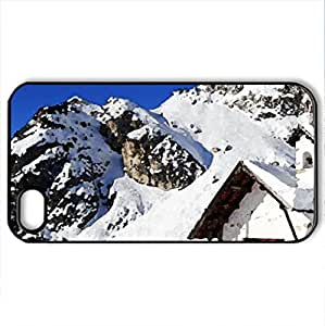 chapel on high on a mountain - Case Cover for iPhone 4 and 4s (Religious Series, Watercolor style, Black)