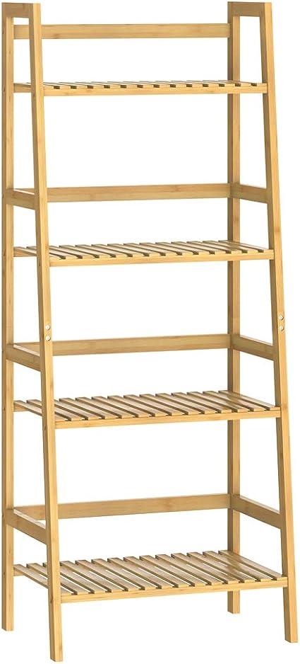 Casaria Estantería de bambú de 4 baldas estantes Mueble de almacenaje librería 123x48x32 cm Cocina baño