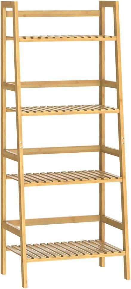 Casaria Estantería de bambú de 4 baldas estantes mueble de almacenaje librería 123x48x32 cm para interior cocina baño: Amazon.es: Hogar