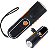 iRonsnow IS-074 Emergency Dynamo Hand Crank Led Flashlight with Lcd Display FM AM Radio, Noctilucent in Dark, 800mAh Rechargeable Power Bank (Black)