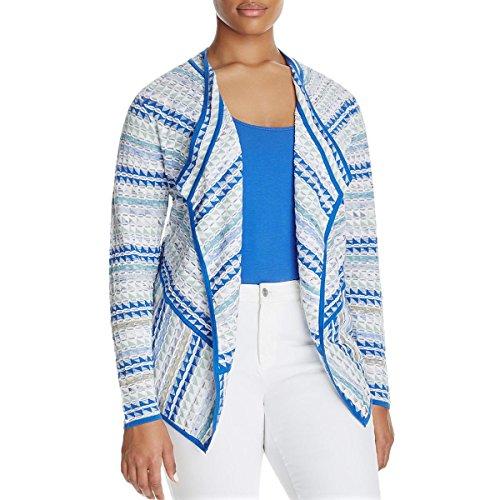 - NIC+ZOE Womens Plus Metallic Printed Cardigan Sweater Green 2X