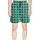 Green Rose Skull Head Mens Quick Dry Breathable Beach Shorts with Drawstring