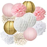 Furuix 12pcs Pink Gold Party Decoration Kit Tissue Paper Pom Pom Honeycomb Ball and Paper Lantern for Girls' Birthday Wedding Decoration Pink Baby Shower Room Decoration Party Favors