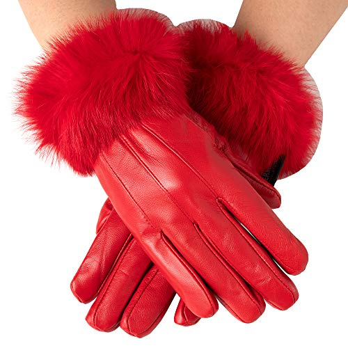 Alpine Swiss Womens Leather Dressy Gloves Rabbit Fur Trim Thermal Lined RED S