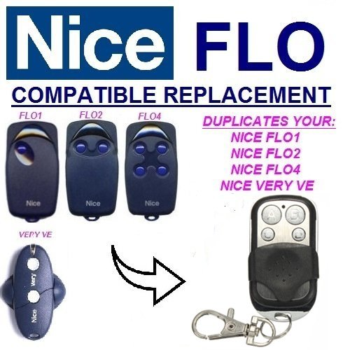 Price comparison product image NICE FLO1 | FLO2 | FLO4 Gate Motor Remote Control Key Fb - Face To Face Copy Transmitter 433.92 Mhz | Fix Code Clone