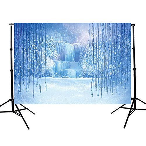 DODOING 5x7ft Christmas Vinyl Winter Frozen Snow Ice Crystal Pendant World Backdrops Photography Background for Children Photo Studio Props Backdrop - Frozen Photography Background