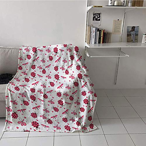 Khaki home Children's Blanket Lightweight Blanket for Sofa Couch Bed (60 by 62 Inch,Ladybugs,Domed Back Round Ladybugs with Hearts Flowers Dragonflies Romantic Wings Pattern,Red White ()