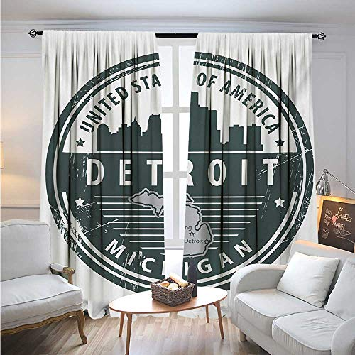 (DetroitBlackout DrapesDamaged Old Stamp of Michigan USA with City Map Location Tourism Travel IconSolid Rod Pocket Blackout Drapes W72 x L96 Black White Grey)