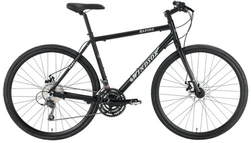 Windsor Rapide Disc Shimano Claris 24 Speed Disc Brake Carbon Fork Super Hybrid Bicycle Bike (Matt Black, 22in)