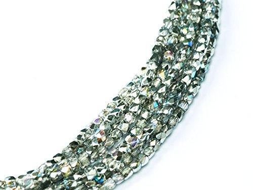 150 pcs Czech Fire-Polished Faceted Glass Beads Round 2mm Crystal Silver Rainbow