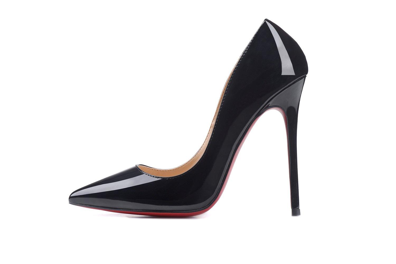 Women Shoe Pointed Toe Pumps Party Sandals Fashion Patent Leather High Heel Stilettos On Dress 12cm B07DG1BHLP 6.5 B(M) US|Black