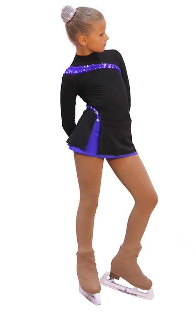 IceDress - Figure Skating Dress - Lasso(Black with Cornflower) (AS) by IceDress