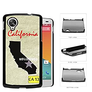 California State Flag with Cream Colored Grunge Background Hollywood Hard Plastic Snap on Cell Phone Case Cover Nexus 5