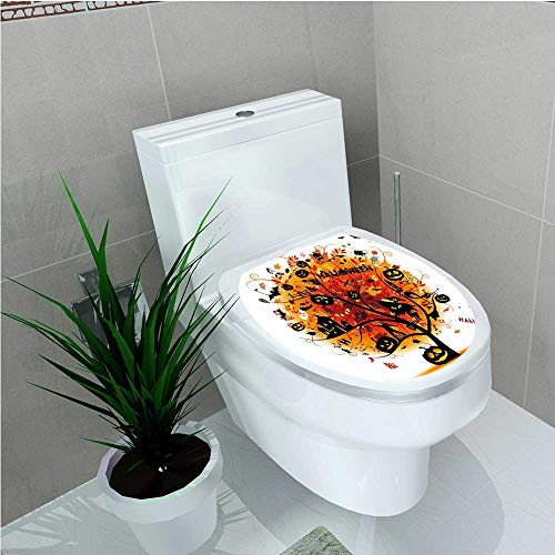 Bathroom Removable PVC Collection Distressed Horror Tree with Mystic Halloween Elements Skull Devil Scary Design Orange W8 x L11 ()