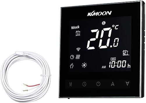 KKmoon AC 95-250V 16A Termostato Inteligente para Sistema de Fontaner/ía,Termostato de Agua Caliente,Controlador de Temperatura de Fontaner/ía,VA Termostato Digital con Pantalla T/áctil LCD Negativa