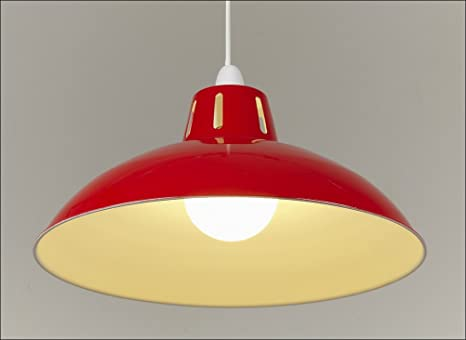 17 red retro large metal coolie glossy lampshade ceiling pendant 17quot red retro large metal coolie glossy lampshade ceiling pendant modern light fitting mozeypictures Images