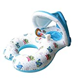 Laza Mother and Baby Swimming Float Infant Inflatable Swim Pool Boat Inflate Floating Rings with Sunshade Canopy Protection (White)