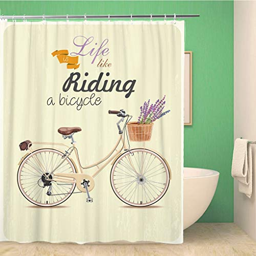 - Awowee Bathroom Shower Curtain Bike Bicycle Lavender in Basket Vintage Retro Old Motor 72x78 inches Waterproof Bath Curtain Set with Hooks
