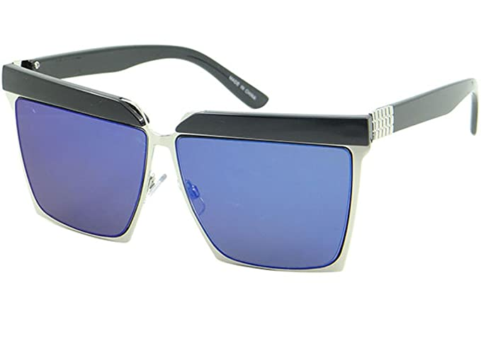 97efc2d852f Oversized Square Sunglasses Bold Frame Double Brow Mens Womens Shades  (63mm-Blue