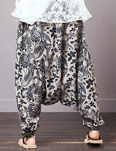 4 Coton Confortable en Harem Pantalon Lin Zhhlinyuan Vrac Taille Elastique Trouser t Noir Pantalon Baggy Lanterne Unisexe HO8wfqa